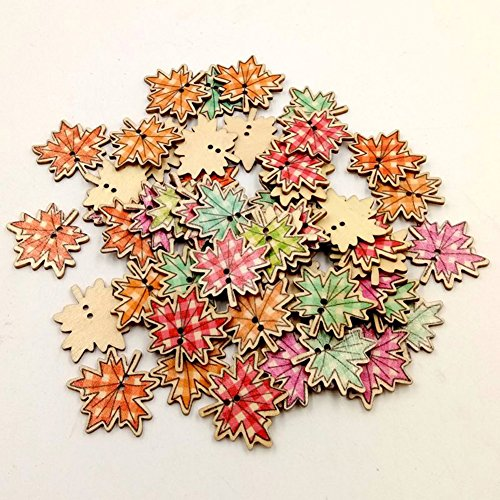 Maple Leaf Button (50Pcs Maple Leaves Wooden Novelty Buttons DIY 2 Holes Decorative Buttons for Sewing Clothing Crafting Needlework Scrapbooking Craft)