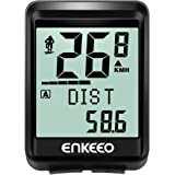 Enkeeo Bike Computer Wireless Speed and Cadence Bicycle Speedometer 2.4GHz Transmission with Large LCD Display, Distance/Time/Calories/Temperature Tracking Multi-Function