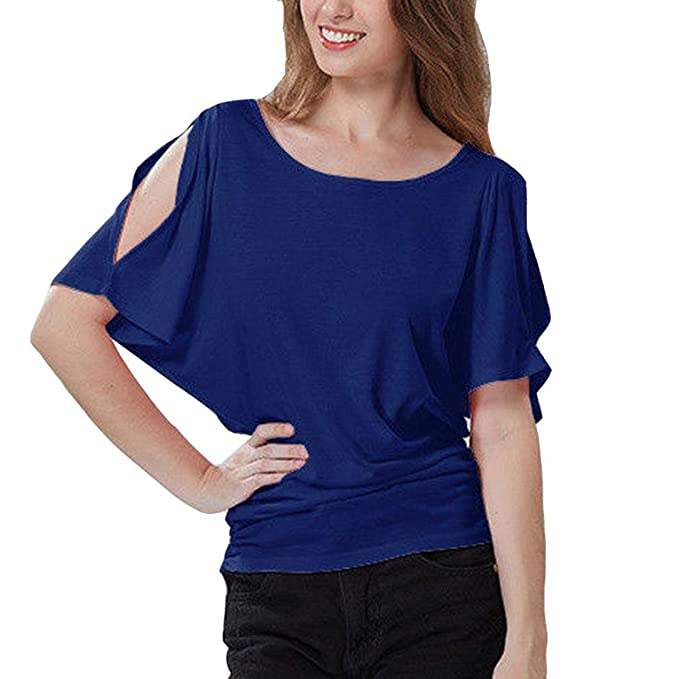 OYSOHE Damen Plus Größe Kurzarm T-Shirt Schnitt Schulter Frauen  O-Ausschnitt Fledermausbluse Tops bc10012d4b