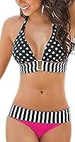 Arrowhunt Damen Neckholder Streifen Dots Bikini Set