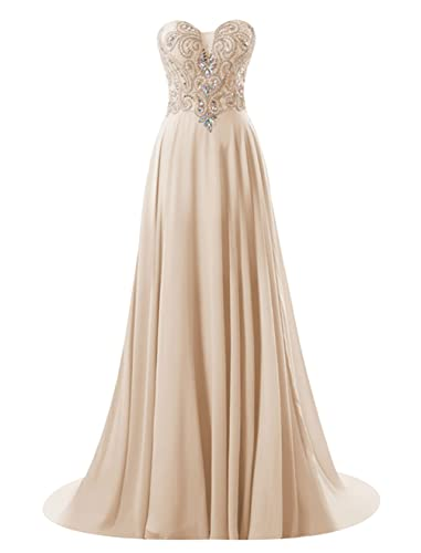 Vinvv Women's Strapless Beaded Long Prom Party Gown Open Back Homecoming Dress