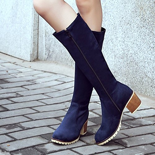 Boots Knee Casual Carolbar Heel Women's Zip High Blue Mid FAF0w