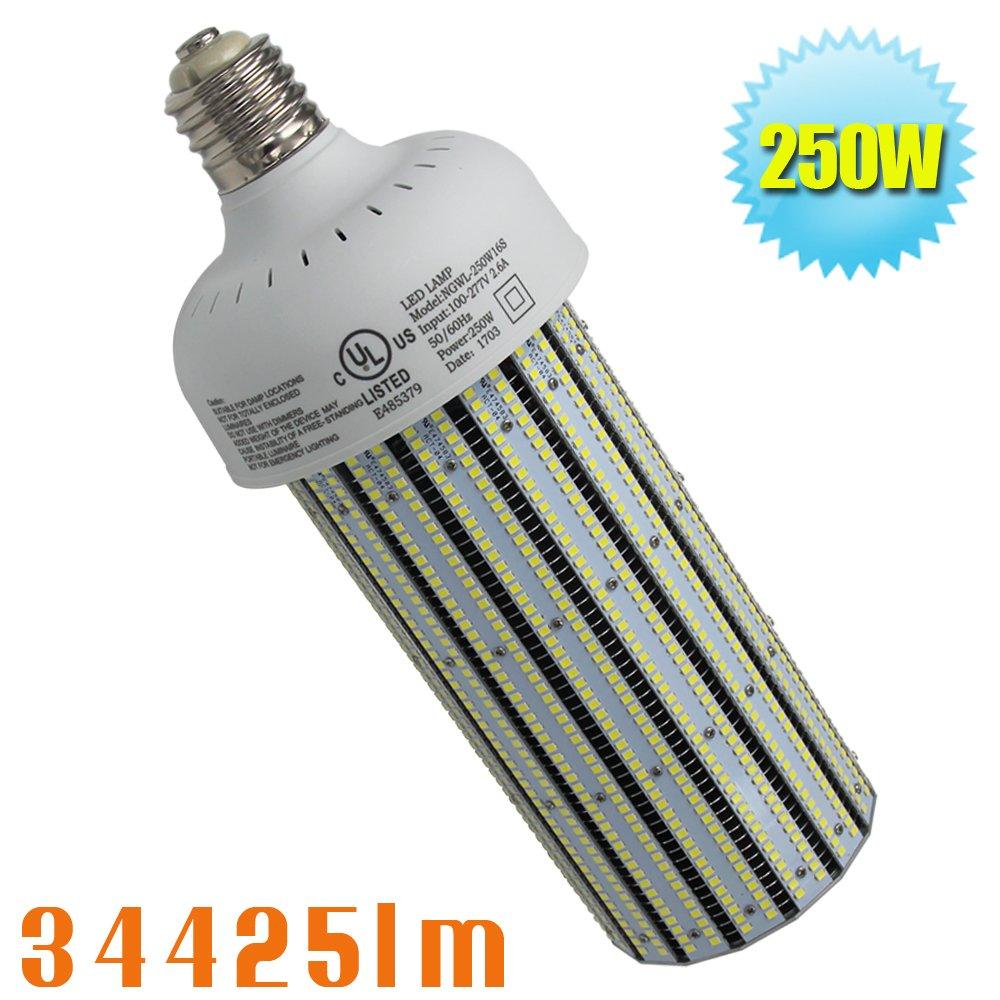 1000Watt Metal Halide Warehouse High Bay Light Replacement 250W LED Corn Light Bulb,HID,HPS Retrofit,Large Mogul E39 Base,6000K Daylight White in Workshop,Storage Room