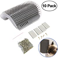 Cat Self Groomer with Catnip, Dog Cat Corner Groomer,Wall Corner Massage Comb,Grooming Brush, Perfect Massager Tool for Long & Short Fur Cats/Dogs/Horses