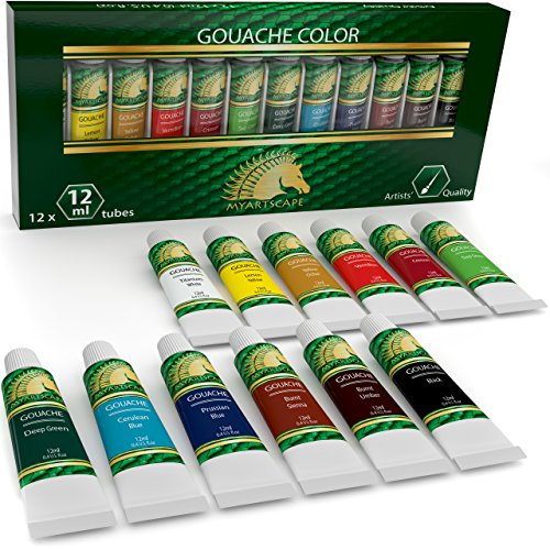 Gouache Paint Set - 12 x 12ml Tubes - Artist Quality Colors - for Art on Watercolor Paper, Illustration Board, Artboard & Masonite - Includes Black and White - Professional Supplies by MyArtscape