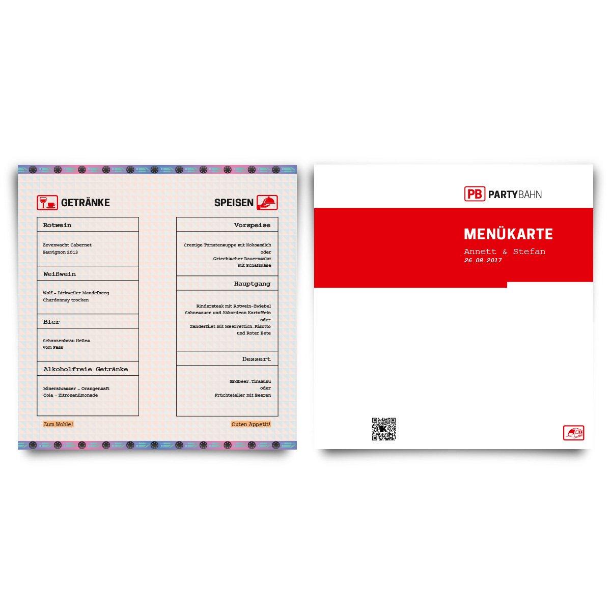 Menükarten Hochzeit (20 Stück) - Bahnkarte Motiv - Speisekarte ...
