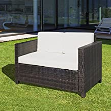 Outsunny Deluxe 2 Seat Rattan Wicker Sofa Garden Outdoor Patio Furniture with Cushion, Brown
