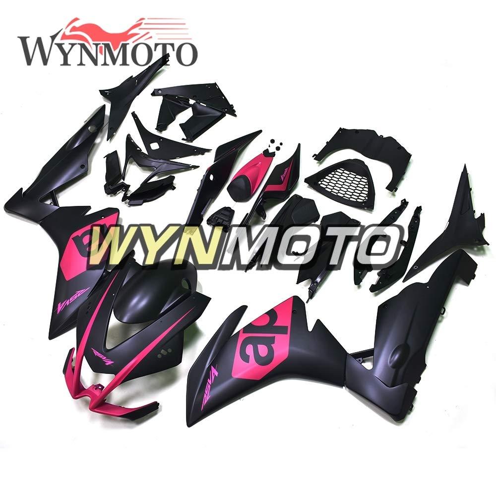 WYNMOTOオートバイフルエクステリアパーツセット適応キットアプリリアRSV4 1000用2010年2011年2012年2013年2014年2015年ABSプラスチック射出外装パーツセット適応ボディワークRSV4 1000ボディフレームマットブラックピンクハル   B07MJPZMXR
