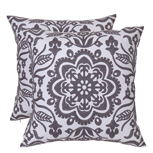 (Bridgeso Floral Square Throw Pillow Cover Anchor Rudder Pattern Embroidered Pillowcase Cushion Cover for Sofa Couch, 18