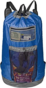 HOMEST Laundry Backpack Bag Extra Large with Mesh Pocket, Shoulder Straps, Machine Washable Durable Nylon Backpack for College Student, Dorm, Camp, Travel, Blue