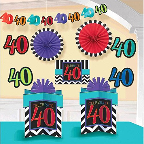 Must-Have Chevron and Stripes 40th Birthday Party Assorted Room Decorating Kit , Pack of 10, Multi , 10.6 X 2.5 foil