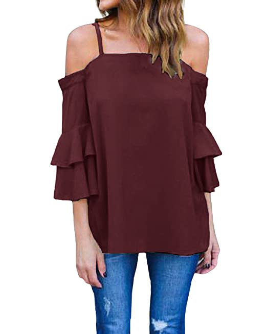 Styledome Camiseta Blusa Volantes Playa Hombros 34 Mujer Mangas w4BqSF