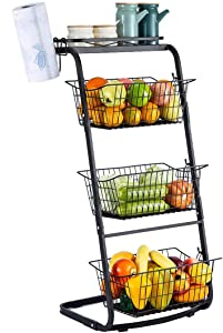 RUHATA 4-Tier Wire Baskets for Organizing- Fruit Basket Stand with Pads for Kitchen Pantry Snack Fruit Vegetable Produce Metal Hanging Storage Bin and Paper Towel Holder-Black (black-1)