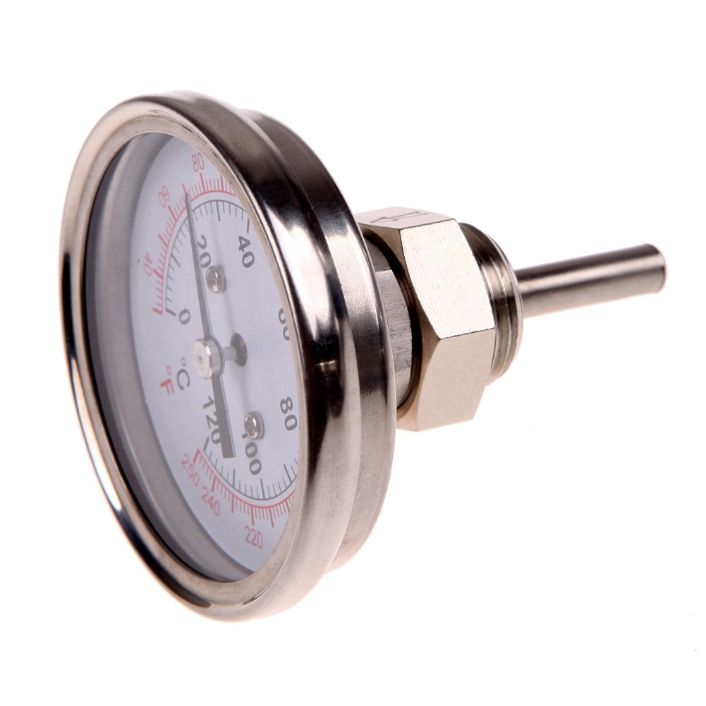 1//2Stainless Steel Thermometer for a Moonshine Still Condenser or Brew Pot