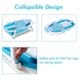 BABY JOY Collapsible Baby Bathtub, Folding Portable Shower Basin with Non-Slip Mat, Storage Slot, Recline Position for Infant