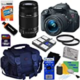 Canon EOS Rebel T5i 18.0 MP CMOS Digital SLR Camera with 18-55mm EF-S IS STM & EF-S 55-250mm f/4.0-5.6 IS II Telephoto Zoom Lenses + 10pc Bundle 16GB Accessory Kit w/ HeroFiber Ultra Gentle Cleaning Cloth