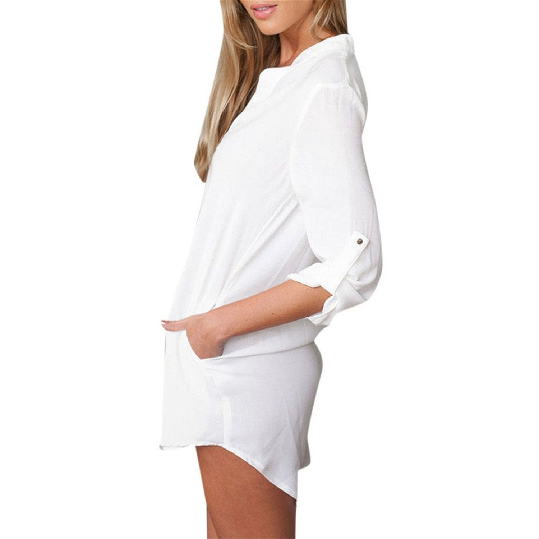 Tobyak Womens V Neck Long Sleeve Solid Shirt Dress NavyFree Fashion style at Amazon Womens Clothing store: