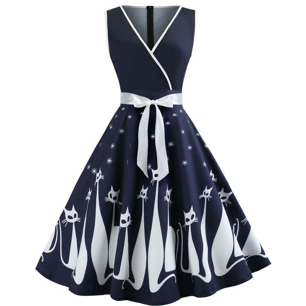 Prom Dresses for Women,Women Cat Printed V Neck Sleeveless Evening Party Dress Swing Retro Dress Navy by WENOVL