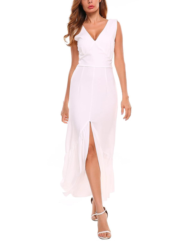 ACEVOG Women Double V-Neck Sleeveless Pleated Hem Front Split Long Maxi Dress
