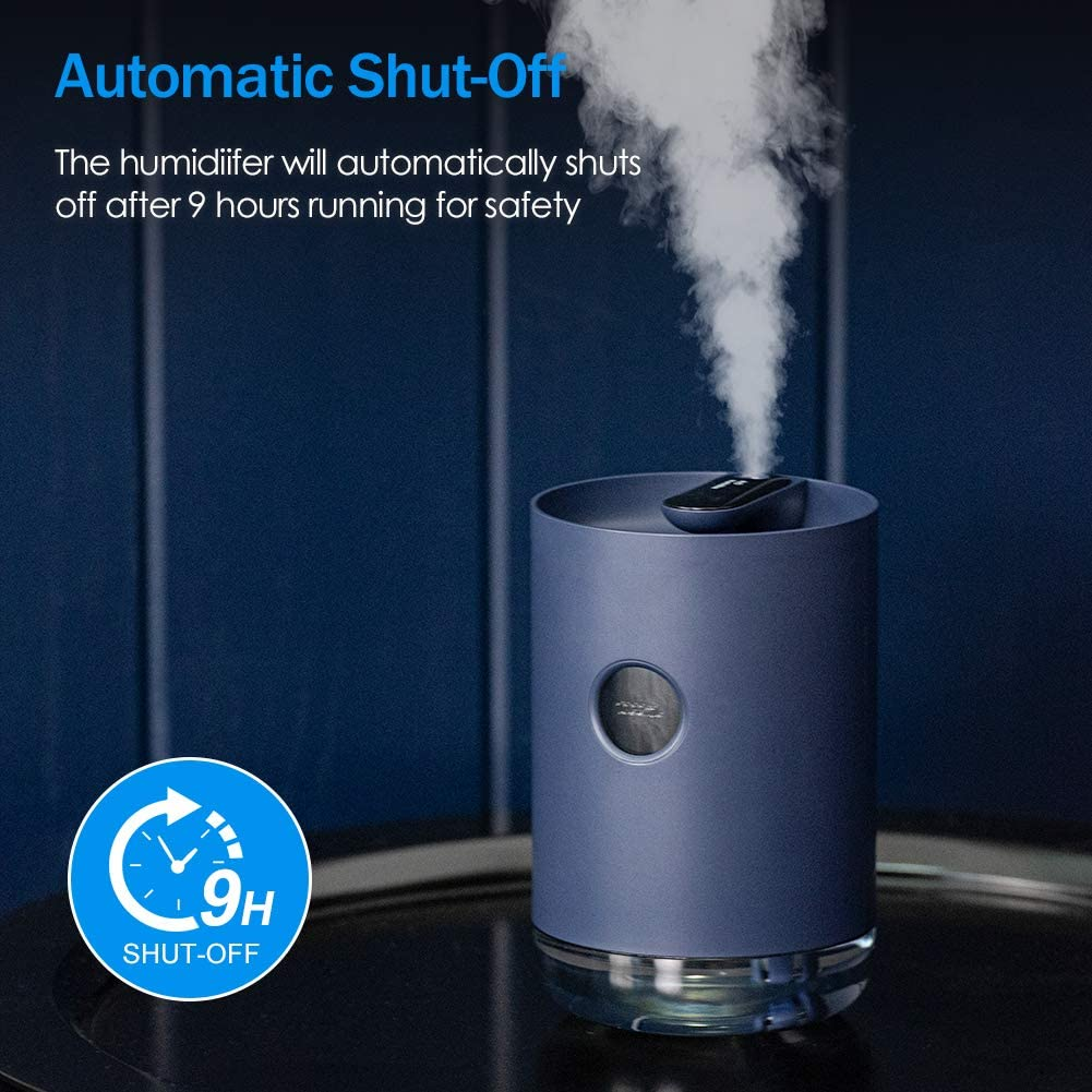 QUARED 1000ml Cool Mist Humidifiers, Small Portable Air Humidifier with Whisper Quiet, USB Charging, Auto-Off, Night Light, for Home Yoga Office Baby Bedroom (White) Dark Blue