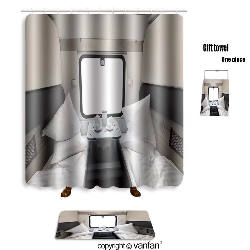 vanfan bath sets with Polyester rugs and shower curtain interior of a coupe in a passenger train car shower curtains sets bathroom 60 x 72 inches&23.6 x 15.7 inches(Free 1 towel and 12 hooks)