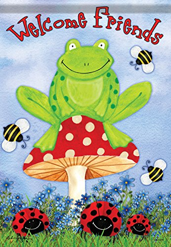 Carson Home Accents FlagTrends Classic Large Flag, Frog on Toadstool