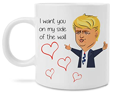 e343331a5994b Funny Trump Gift - I Want You on My Side of the Wall Funny Donald Trump  Birthday Gift for Wife Mom Dad Husband Mothers Fathers Day Novelty 11 Ounce  ...