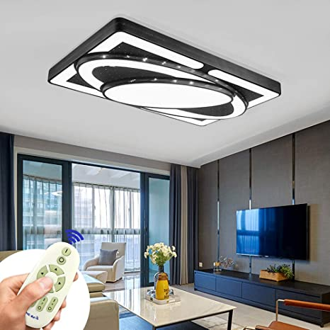Deckenlampe Led Deckenleuchte 78w Wohnzimmer Lampe Modern Deckenleuchten Kueche Badezimmer Flur Schlafzimmer Schwarz 78w Dimmbar Amazon De Beleuchtung
