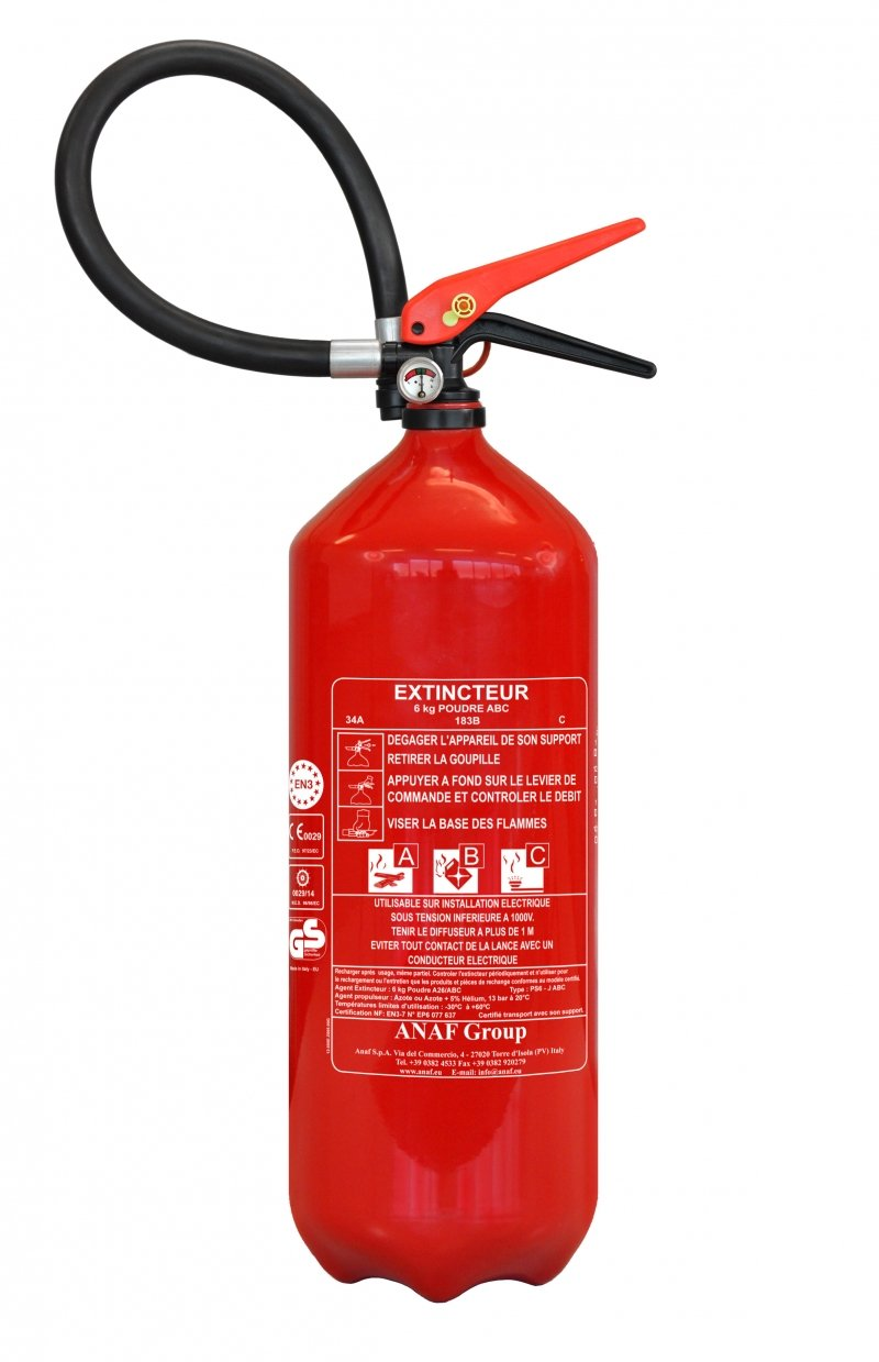 ABC extintor de polvo de 6 kg con soporte de montaje Anaf