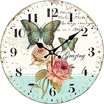 """Grazing 12"""" Vintage Blue Green Yellow Colorful Stripe Design Rustic Country Tuscan Style Wooden Decorative Round Wall Clock (Ocean) (Rose)"""