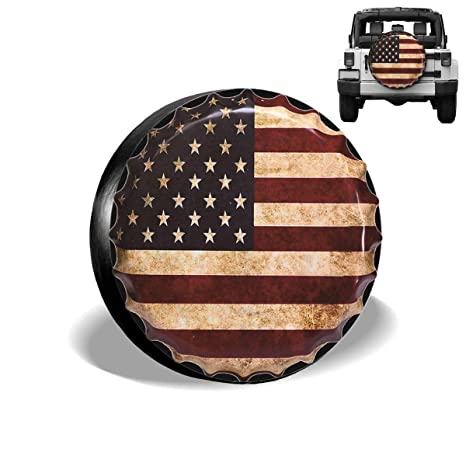 Wheel Cover with American Flag Eagle PVC Leather Waterproof Dust-Proof Universal Fit for Jeep,Trailer Spare Tire Cover 14 for Diameter 23-27 RV Camper and Vehicle SUV