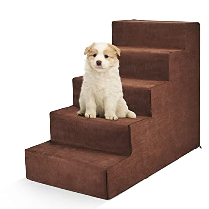 Attrayant Delxo High Density Foam 5 Step Pet Stairs,Cat,Dog Steps,Comfy