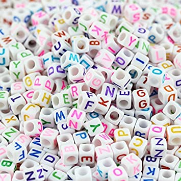 Key Chains and Kids Jewelry Necklaces 500PCS Size 12mm Acrylic Alphabet LetterA-Z Cube Beads for Jewelry Making Bracelets
