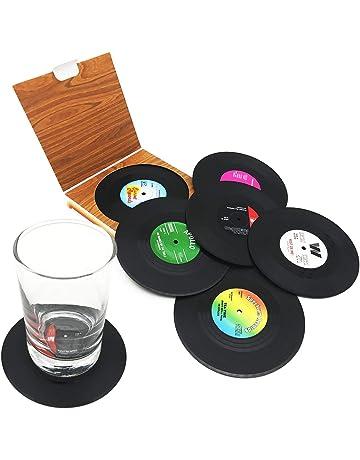 6 posavasos de vinilo con diseño de CD de Retro para café
