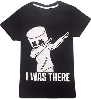 OLIPHEE Camisetas Color sólido Impresa Patrón de Marshmello para Niño