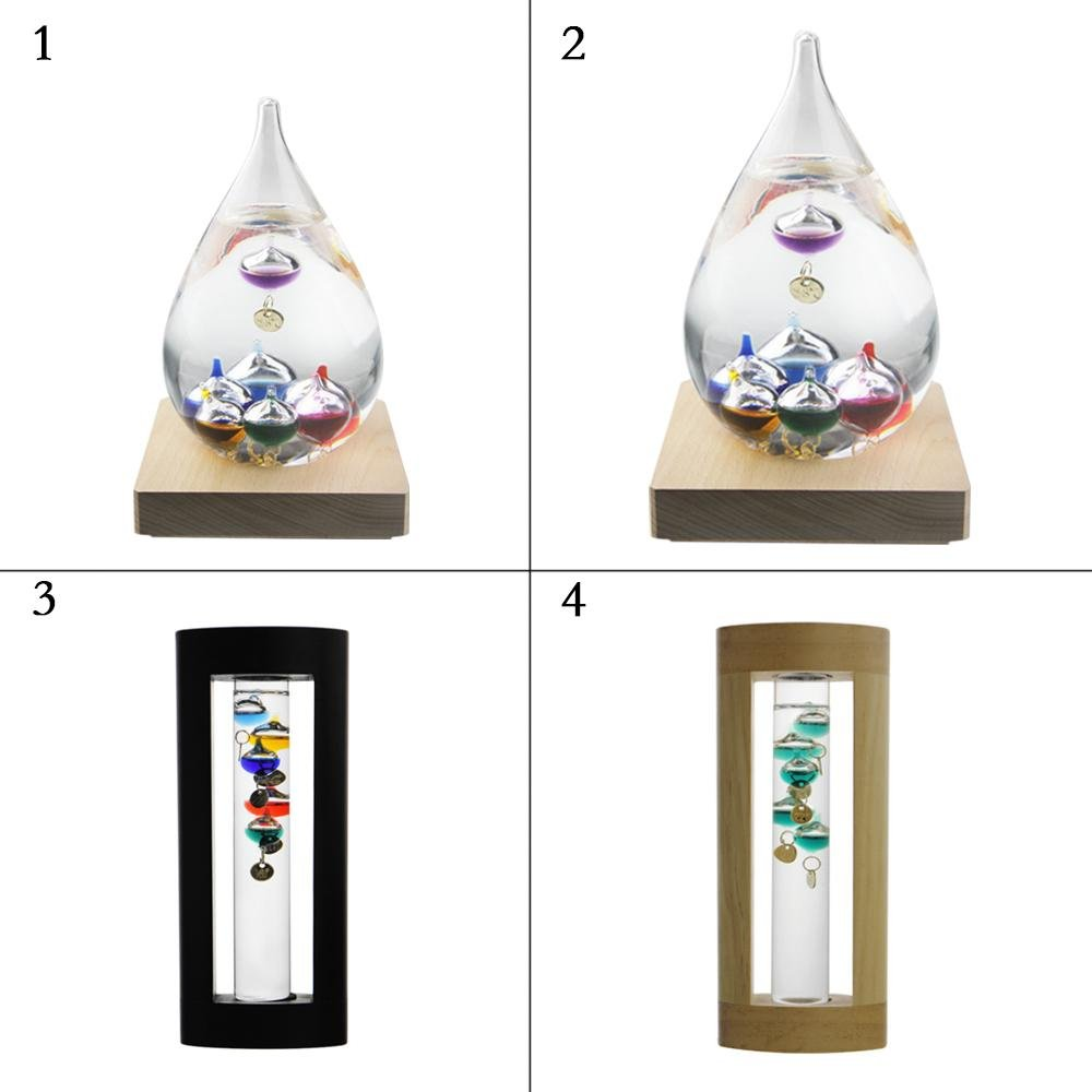 Galileo Thermometer Indoor /outdoor and Multicolor Glass Spheres Fluid Barometer Not Storm Glass Decoration Home Office Birthday Gifts With Wood Base 7 Inch Aolvo