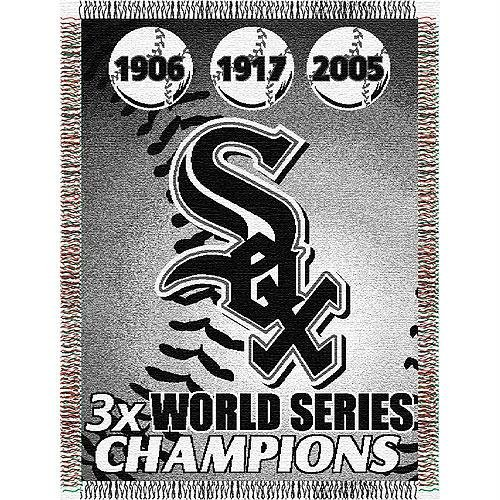 Officially Licensed MLB Chicago White Sox Commemorative Woven Tapestry Throw Blanket, 48