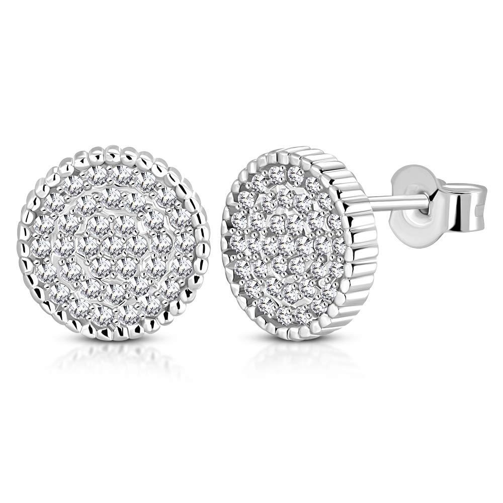 925 Sterling Silver White Clear CZ Stud Earrings