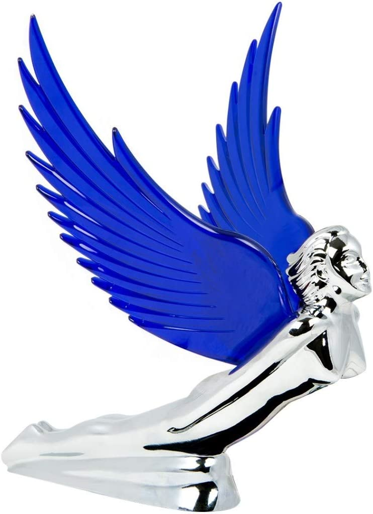 GG Grand General 48107 Blue 8 X 8 inches Chrome Flying Goddess Hood ORN w Windriders