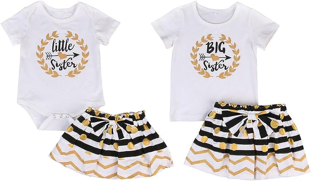 Shiningup Baby Girl Outfit Kleid Set gro/ße Kleine Schwester Langarm Strampler T-Shirt und Mini Rock Bodysuit