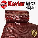 12'' x 20 FT Red - KEVLAR FABRIC-2x2 TWILL WEAVE-3K/220g