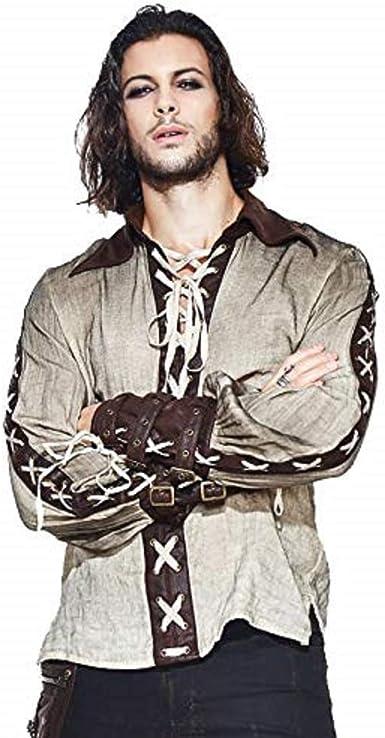 Devil Fashion - Camisa de Manga Larga Vintage para Caballero de época Victoriana con Correa de cinturón, Top de Hombre Medieval: Amazon.es: Ropa y accesorios