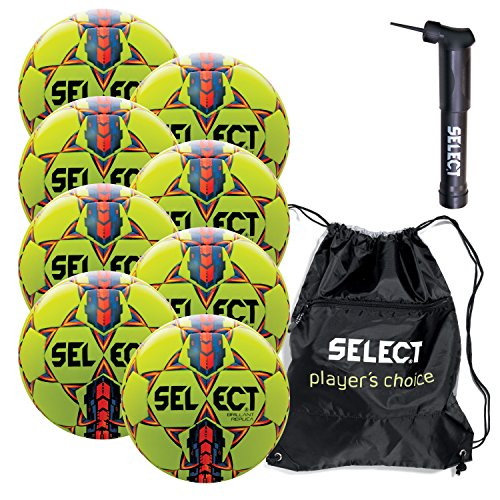(Select Brilliant Super Replica Soccer Ball with Sack Pack & Hand Pump (pack of 8), Yellow, Size 5)