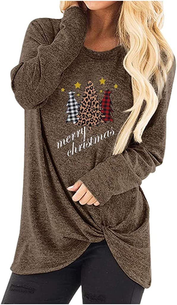 KYLEON Womens Sweatershirt Casual Round Neck Long Sleeve T-Shirt Knot Side Twist Knit Pullover Tunic Tops Sweater Jumper