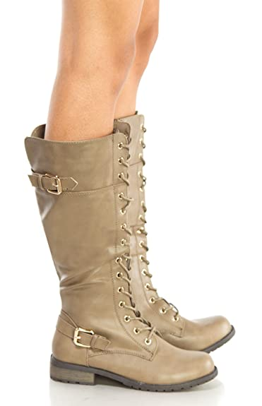 Women's Zipper Buckle Knee High Riding Boots and Round Toe Military Lace Up Knit Ankle Cuff Low Heel Combat Boots