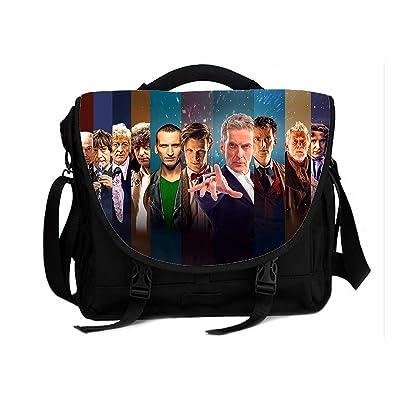 Cross Body Laptop Messenger Shoulder bag Business Briefcase Black Fits for 15 inch Laptop Doctor Who All Doctors Print