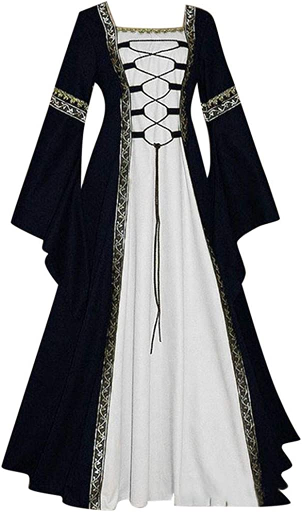 SUMSAYEI Womens Medieval Renaissance Costume Halloween Cosplay Costumes Victorian Irish Retro Gown Long Dress