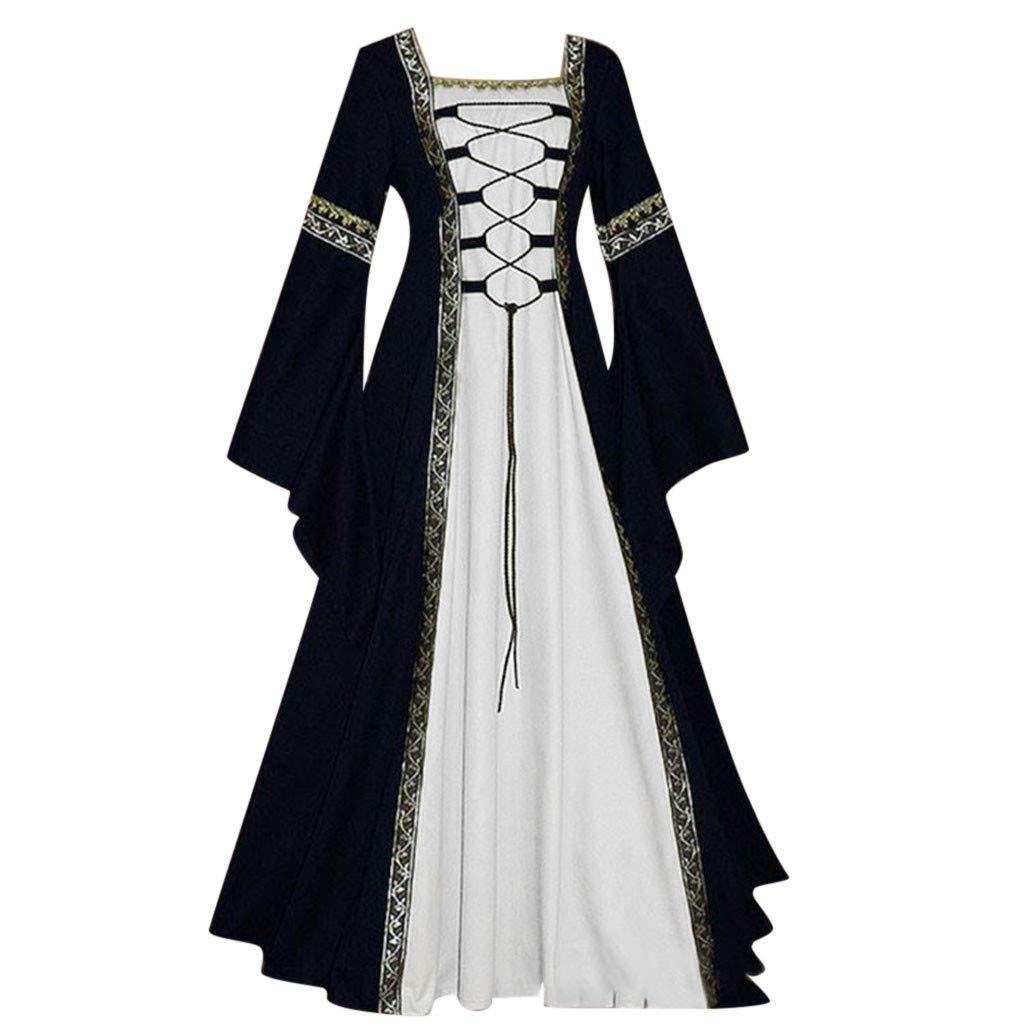 Maxi Dresses for Women Miuye Women's Vintage Celtic Medieval Floor Length Renaissance Gothic Cosplay Dress Black by Miuye-Dress