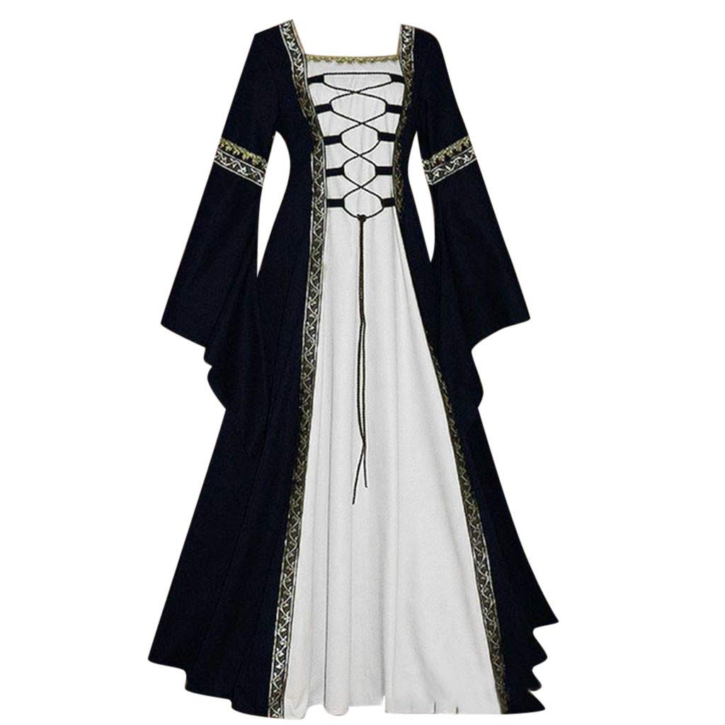 Women's Vintage Gothic Cosplay Dress Celtic Medieval Floor Length Renaissance Costumes Flare Sleeve Empire Princess Maxi Dress (Black, 2XL)