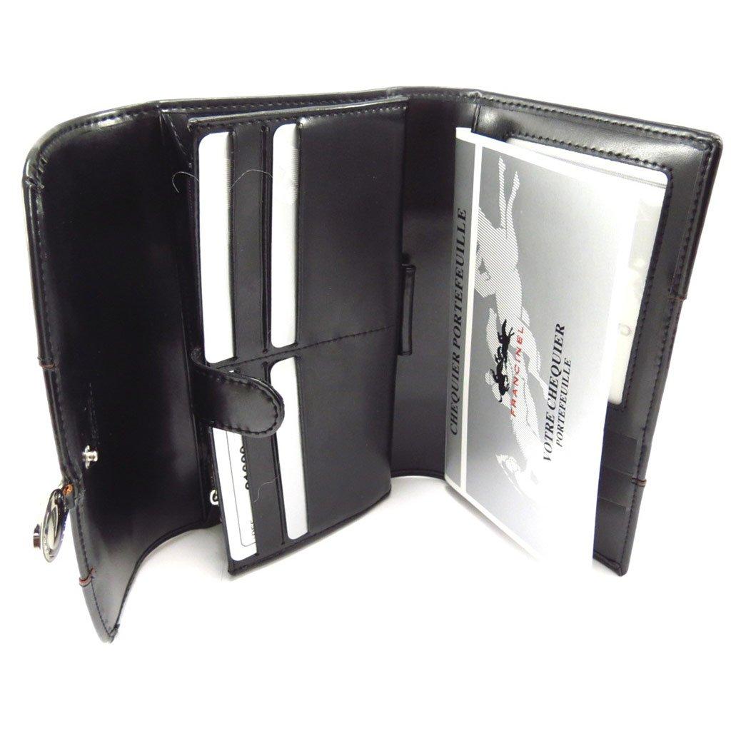 checkbook holder leather Vend/ôme black. Wallet